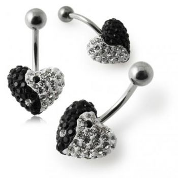 Buy Crystal stone Heart Ying Yang Belly Ring online