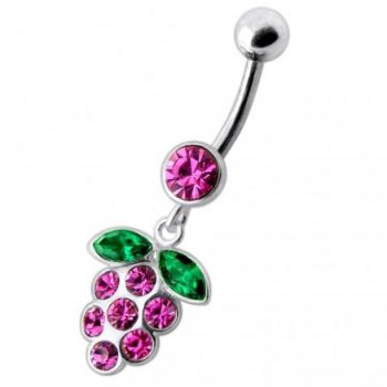 Buy Silver Fancy Jeweled EVA Dangling Curved Belly Ring online