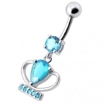 Buy Silver Fancy Jeweled Cup Dangling Bar Belly Ring online