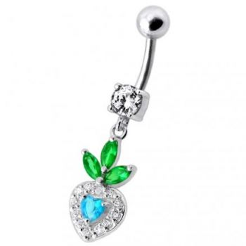 Buy Fancy White Jeweled With Pink Stone Heart Dangling Belly Ring online