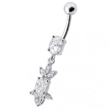Buy Fancy Green Stone Jeweled Dangling 316L SS Bar Belly Ring online