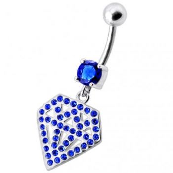 Buy Silver Fancy Multi Jeweled Diamond Shape Dangling Curved Belly Ring online