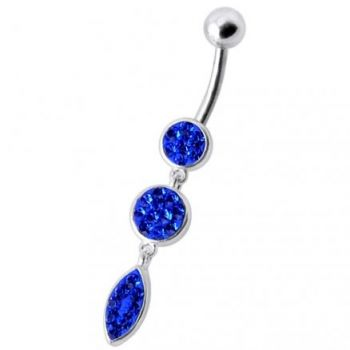 Buy Fancy Pressure Setting Pink Jeweled Dangling Belly Ring online