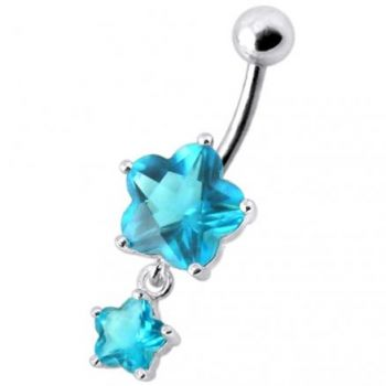 Buy Fancy High Quality Pink Stone Flower Silver Dangling With SS Bar Belly Ring online