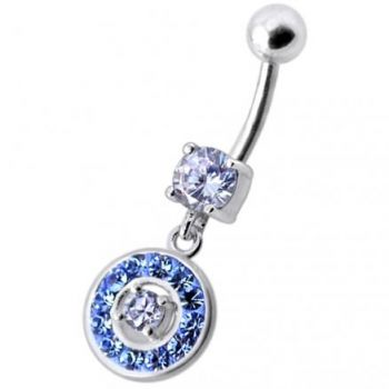 Buy Fancy Round Multi Stone Studded Jeweled Dangling Belly Body Ring online