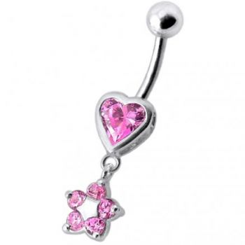 Buy Jeweled Heart with Dangling Flower Belly Ring online