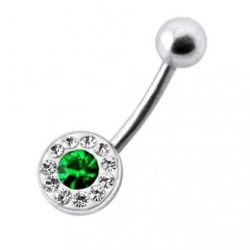 Buy Fancy Jeweled Silver Banana Bar Belly Button Ring online