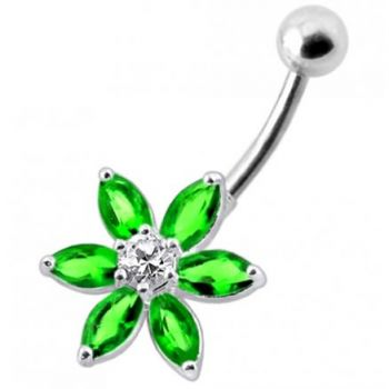 Buy Flower Jeweled Silver Belly Ring online
