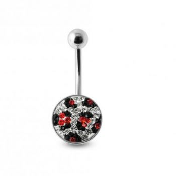 Buy Crystal stone Jeweled Banana Bar Belly Ring with steel Base online