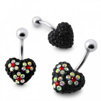Buy Black Crystal stone Heart With Mix Color Flower SS Banana Bar Belly Ring online