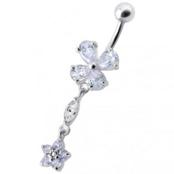 Buy Fancy Jeweled Blue Stone Two Dangling Flower With Curved Bar Belly Ring online