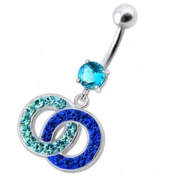 Buy Fancy Multi Colored Stone Studded Crossed O  Dangling SS Bar Belly Ring online