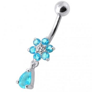 Buy Fancy White Jeweled Flower Silver Dangling With SS Belly Ring online