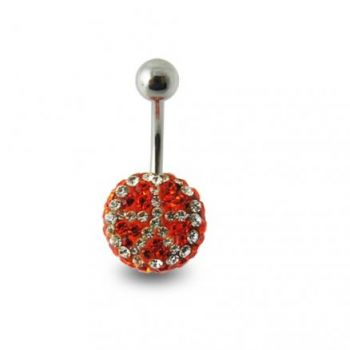 Buy Red Crystal stone With SS body Jewelry Belly Ring online