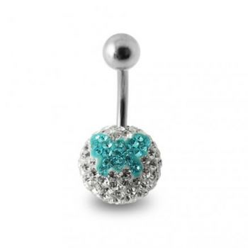 Buy Silver Butterfly Crystal Stone SS Belly Ring online