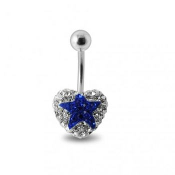 Buy White Crystal stone With Blue Star With Banana Bar Belly Ring FDBLY388 online