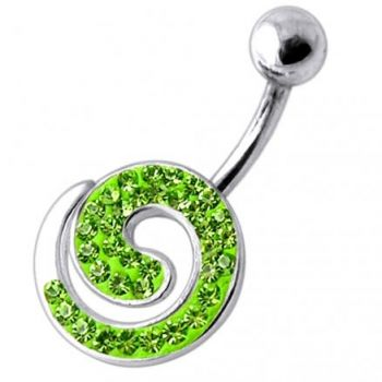 Buy Fancy Spiral Jeweled Silver Belly Ring online