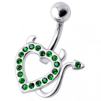 Buy Devil Heart  Jeweled Silver Belly Ring online