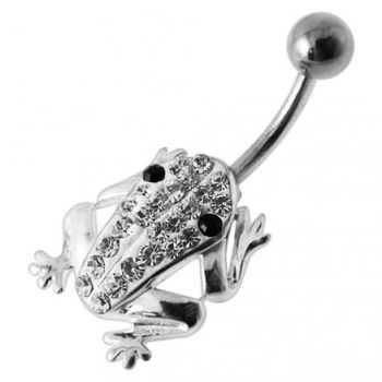 Buy Fancy Frog Jeweled Silver Belly Ring online