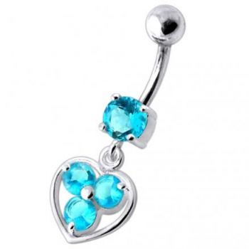 Buy Jeweled Silver Heart Dangling SS Curved Bar Banana Belly Ring online