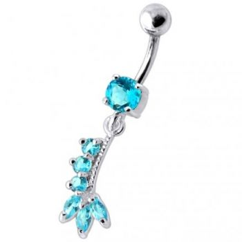 Buy Fancy Purple Jeweled Silver Dangling Curved Bar Belly Ring online