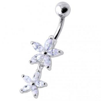 Buy Double Flower Jeweled Dangling Belly Ring online