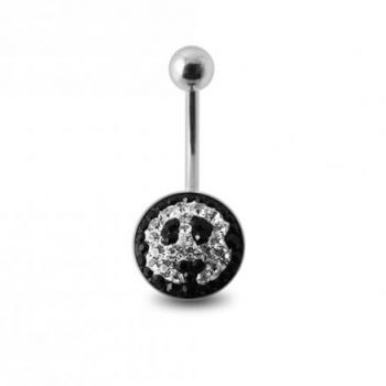 Buy Crystal stone Jeweled Panda Face Banana Belly Ring with steel Base online