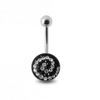 Buy Crystal stone Belly Banana Ring with steel Base online
