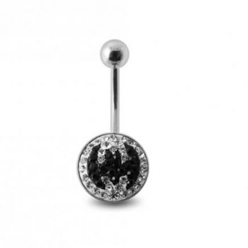 Buy Crystal stone BAT Design SS Banana Bar Belly Ring with steel Base online