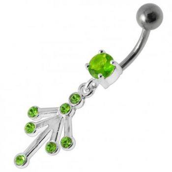 Buy Fancy Jeweled Silver Dangling With Curved Bar Belly Ring Body Jewelry online