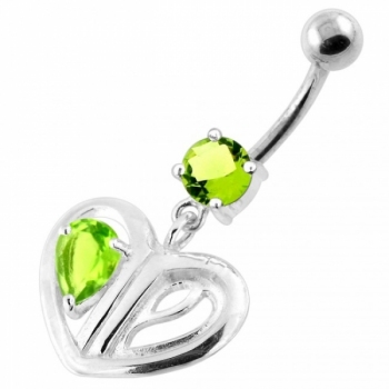 Buy Jeweled Heart Cut out 925 Sterling Silver Navel Bar online