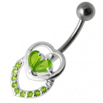Buy Fancy Silver Jeweled Multi Heart SS Curved Bar Belly Ring online