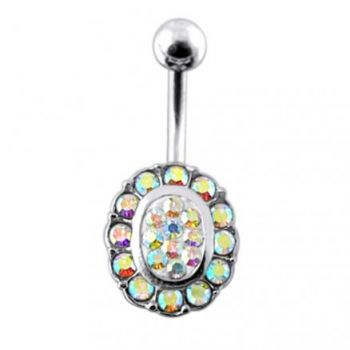 Buy Silver Fancy Green Stone Jeweled 316L SS Bar Belly Ring online