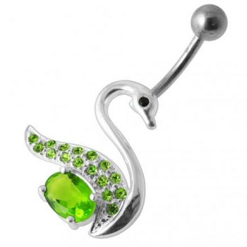 Buy Fancy Jeweled Silver Swan Banana Bar Belly Button Ring online