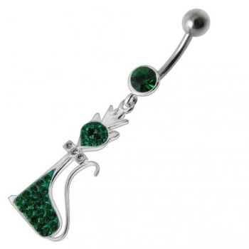 Buy Fancy Black Jeweled Pussy Cat Dangling SS  Banana Bar Belly Ring online