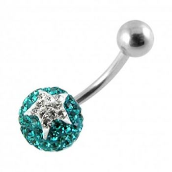 Buy Crystal stone Jeweled Star SS Bar Belly Ring FDBLY382 online