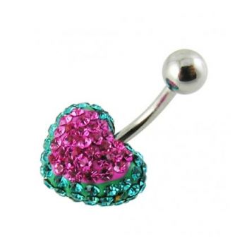 Buy Red Crystal stone Heart With Banana Bar Body Jewelry Belly Ring online