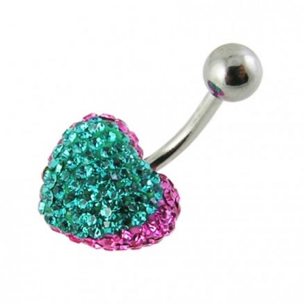 Buy Crystal stone Green Heart Banana Bar Belly Ring FDBLY376 online