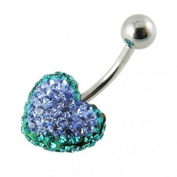 Buy Mix Color Crystal stone Heart Curved Bar Belly Ring online