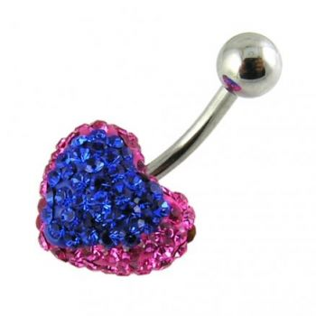 Buy Mix Color Crystal stone Heart SS Curved Bar Belly Button Ring FDBLY374 online
