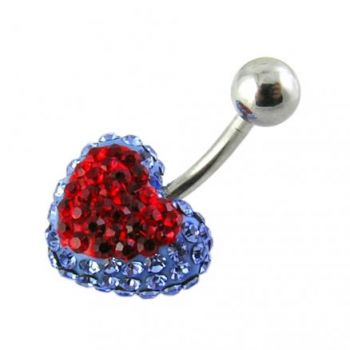 Buy Multi Color Crystal stone Heart Belly Ring With Curved Barbell online