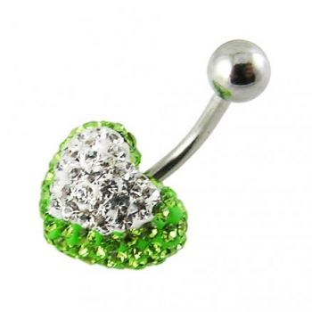 Buy Mix Color Crystal stone Heart With Banana Barbell Belly Body Jewelry Ring online