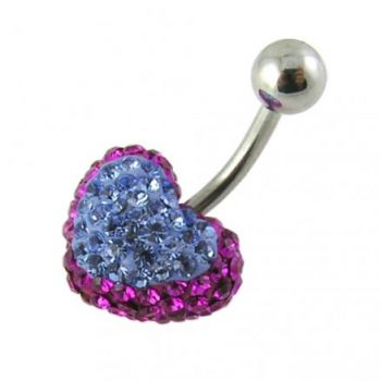 Buy Crystal stone Heart Banana Bar Belly Button Ring Body Jewelry online