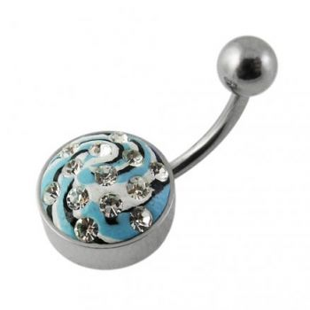 Buy Steel Base Multi Color painted Crystal Belly Ring Body Jewelry online