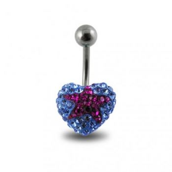 Buy Blue Crystal stone With Red Star 316L SS Belly Ring online