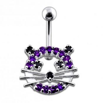 Buy Fancy Jeweled Cat Silver Belly Ring online