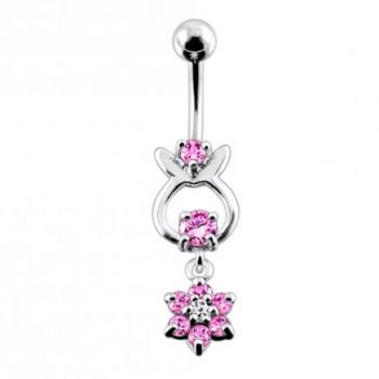 Buy Jeweled Hanging Flower Dangling Belly Ring online
