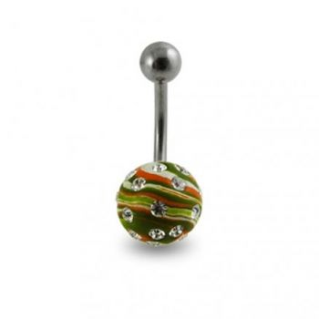 Buy Multi Colored Hand Painted Crystal Ball Curved Belly Ring online