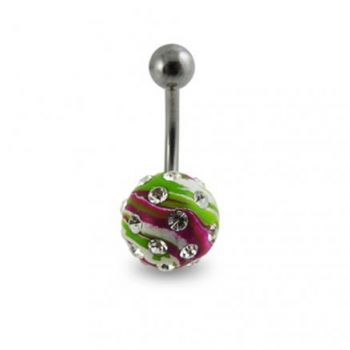 Buy Tripple Color Hand PaintedCrystal Ball Banana Bar Belly Ring online