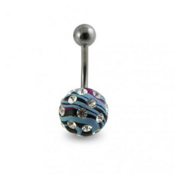 Buy Multi Color Painted Crystal Ball Belly Ring Body Jewelry online